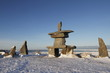 Set of rocks and a inuksuk and inukshuk found in early November near Churchill, Manitoba