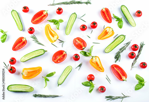 Fresh food pattern with cucumbers,  peppers,  tomatoes and herbs. - 180309254