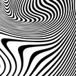 Wavy stripes background with curved  ripple lines. Vector zebra texture