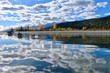 Golden. Kicking Horse River and reflections in autumn. British Columbia. Canada.