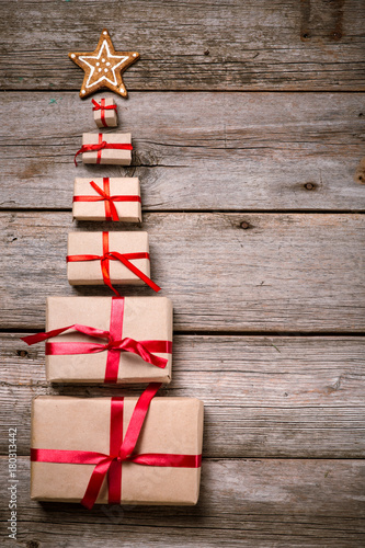 Decoration for Christmas and New Year on a wooden background
