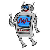 Funny Cartoon Robot Character Design Illustration Wall Sticker