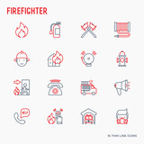 Firefighter thin line icons set: fire, extinguisher, axes, hose, hydrant. Modern vector illustration. - 180323843