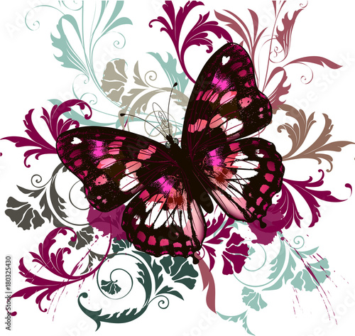 Foto op Canvas Vlinders in Grunge Fashion illustration with colorful butterfly