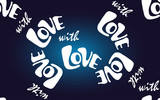 Vector seamless pattern with sign with LOVE on a dark blue background