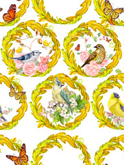 antique seamless texture with floral vignettes and lovely birds. watercolor painting © Aloksa