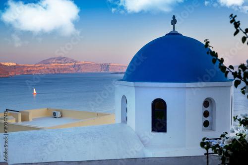 Fotobehang Santorini blue domed church - Santorini - Greece