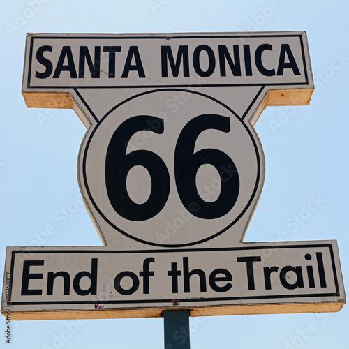 Deurstickers Route 66 Historic Route 66 Signpost in Santa Monica. California. USA