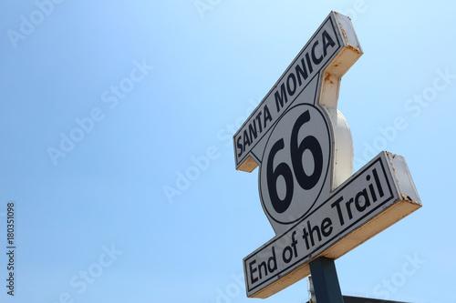 Historic Route 66 Signpost in Santa Monica. California. USA Poster