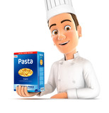 3d head chef presenting pack of pasta - 180353073