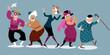 Group of active senior women dancing, EPS 8 vector illustration