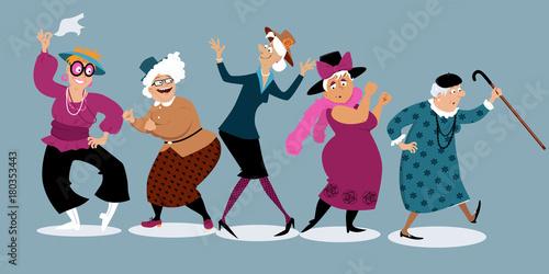 Fototapeta Group of active senior women dancing, EPS 8 vector illustration