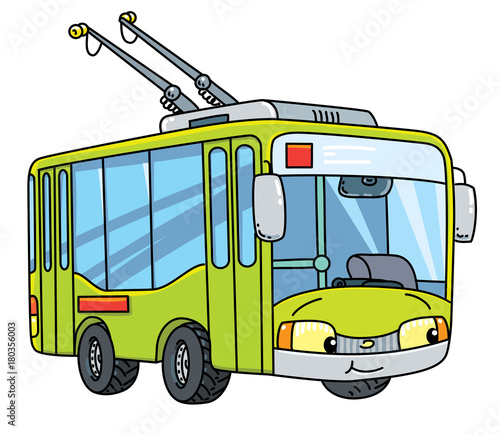 Funny small trolleybus with eyes