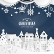 Christmas background with winter town