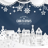 Christmas background with winter town - 180356266