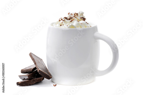 Tuinposter Chocolade cup of hot chocolate with chocolate pieces on white background