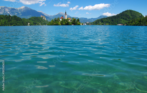 Papiers peints Bleu jean Landscape Lake Bled and mountains