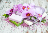 Handmade soap and purple orchids - 180361823