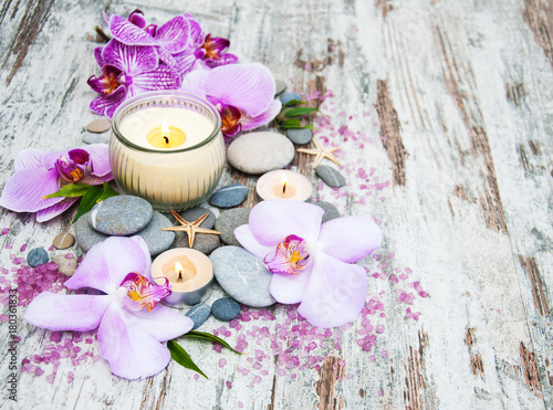 Fotobehang Spa Spa products with orchids