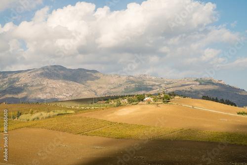 Fotobehang Bleke violet Scenic agricultural Sicilian landscape during autumn time, Italy