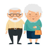 couple of grandparents avatars characters vector illustration design - 180366257