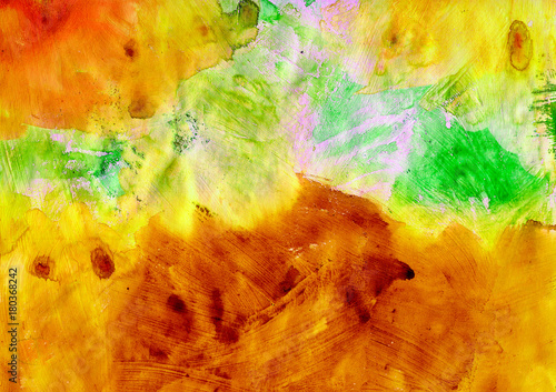 Orange artistic abstract painted texture, grunge painting, decorative yellow painting, random brush strokes - 180368242
