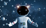 cute cartoon character astronaut in white space suit floating between geometric objects in front of the stars  - 180368608