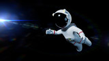 cute white cartoon astronaut flying in space lit by the Sun - 180368810