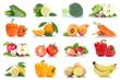 Früchte Obst und Gemüse Apfel Tomaten Orange Zitrone Karotten Farben Sammlung Freisteller freigestellt isoliert