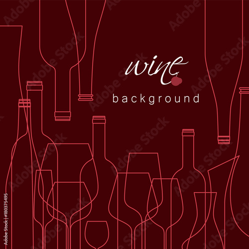 Fototapeta Bottles and glasses for wine. Vector background for menu, tasting, wine card. Illustration with line icons is cropped with a mask.