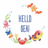 Watercolor handpainted pre-made template card with text.Wreath on white background with marine life