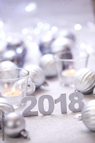 Foto op Plexiglas Bol Christmas silver balls