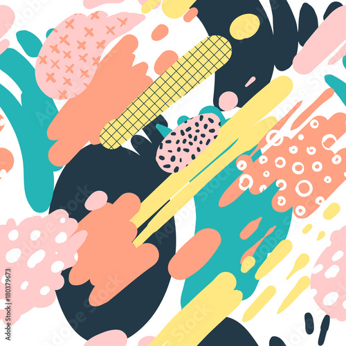 Cotton fabric Trendy Seamless Pattern with Brush Strokes in Memphis Style. Abstract Background for Placard, Brochure, Poster, Textule. Vector illustration
