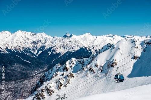 Aluminium Blauwe jeans Winter mountain landscape. Krasnaya Polyana, Sochi, Russia