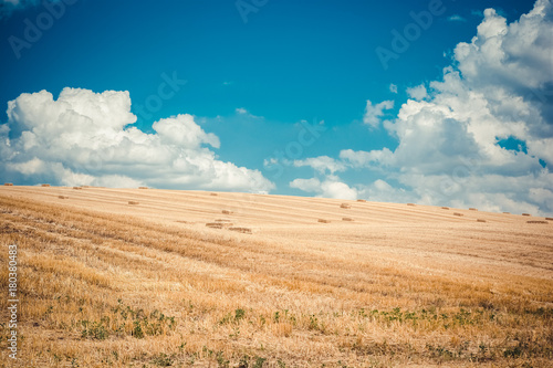 Papiers peints Bleu jean A newly harvested field with straw bales on the background of a blue cloudy sky