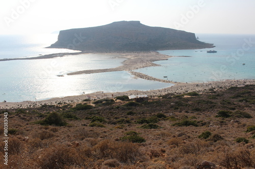Foto op Canvas Wit A beautiful view of blue Balos lagoon and beach in Crete Island, Greece.