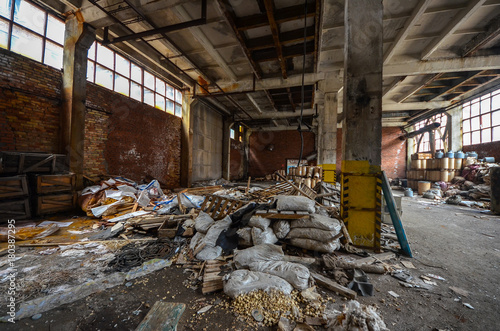 Fotobehang Gebouw in Puin The abandoned chemical plant (Former Soviet Union) in Ufa, Russia