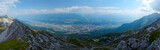 Panorama of the city of Innsbruk from top of mountain at sunny day