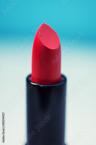 Shiny new red or scarlet lipstick Plakat