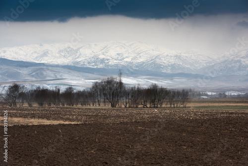Foto op Plexiglas Chocoladebruin winter, plowed field