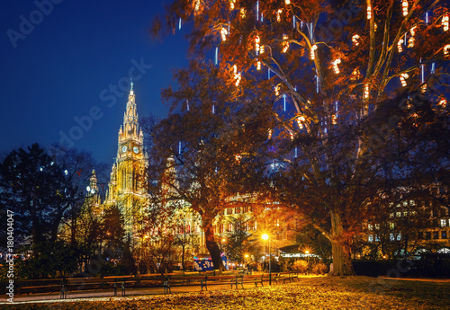 Foto op Canvas Wenen Vienna Town Hall and park decorated for Christmas