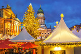 Christmas market, French church and konzerthaus in Berlin, Germany - 180404258