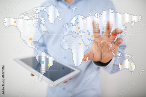 Fototapeta Worlds maps on virtual screen. Business, internet and technology concept.