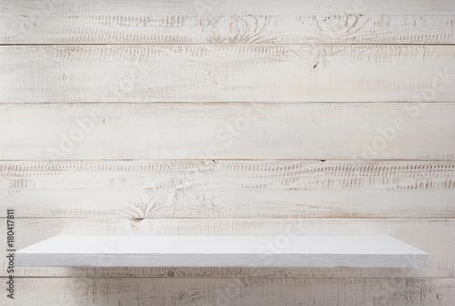 shelf at white plank wooden background - 180417811