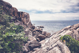 Beautiful seascape, cloudy weather, a stone beach,  image with retro tone - 180418672