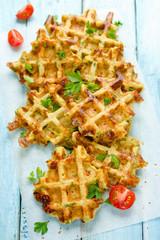 Snack salty Belgian waffles