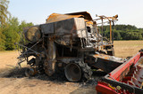 Combine harvester destroyed by fire - 180421071