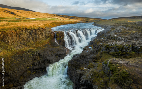 Kolugljufur waterfall in Iceland - 180421678