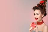 Beauty model hairstyle holiday background. Christmas and New Year celebration. Glamour lady