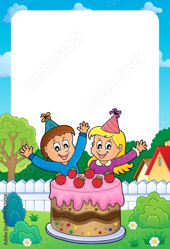 Fotobehang Voor kinderen Frame with cake and two kids celebrating